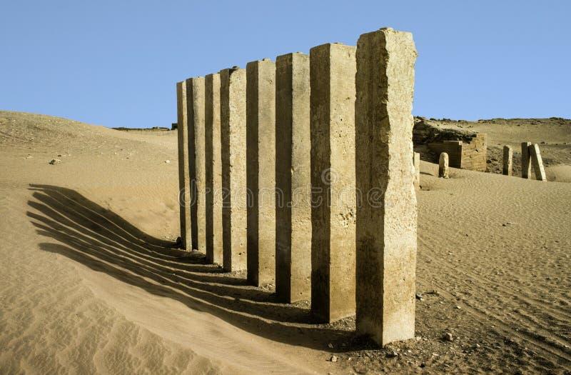 5 στυλοβάτες του ναού φεγγαριών κοντά σε Marib στοκ φωτογραφίες