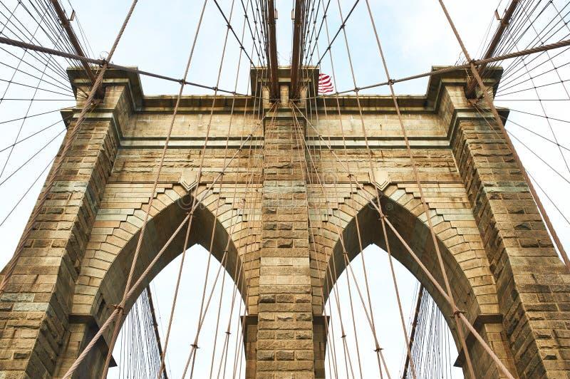 Στυλοβάτης γεφυρών του Μπρούκλιν, πόλη της Νέας Υόρκης στοκ φωτογραφίες