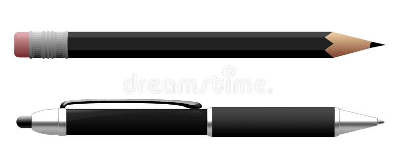 Στυλός και μολύβι διανυσματική απεικόνιση
