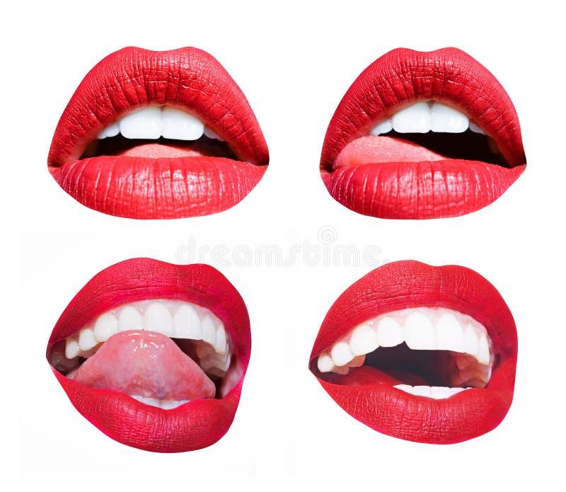 Στόμα γυναικών Διαφορετικά χείλια καθορισμένα, συγκινήσεις, προκλητική γλώσσα και γλείψιμο των άσπρων χειλιών Κόκκινο σαγηνευτικό στοκ φωτογραφίες