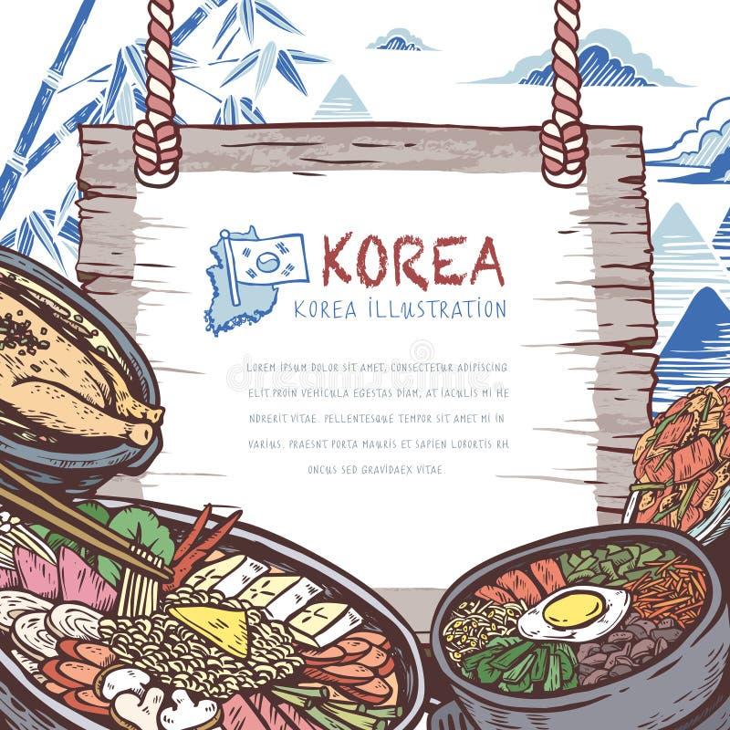 Στόμα-ποτίζοντας κορεατικά τρόφιμα απεικόνιση αποθεμάτων