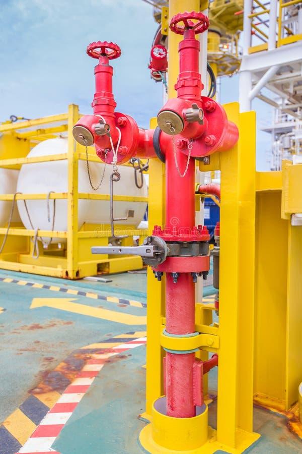 Στόμιο υδροληψίας πυρκαγιάς, σύνδεση μανικών, πυροσβεστικός εξοπλισμός για τον πυροσβέστη στο πετρέλαιο και πλατφόρμα φυσικού αερ στοκ φωτογραφίες με δικαίωμα ελεύθερης χρήσης