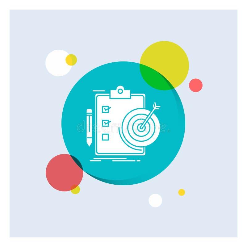 στόχοι, έκθεση, analytics, στόχος, επιτεύγματος άσπρο Glyph υπόβαθρο κύκλων εικονιδίων ζωηρόχρωμο διανυσματική απεικόνιση
