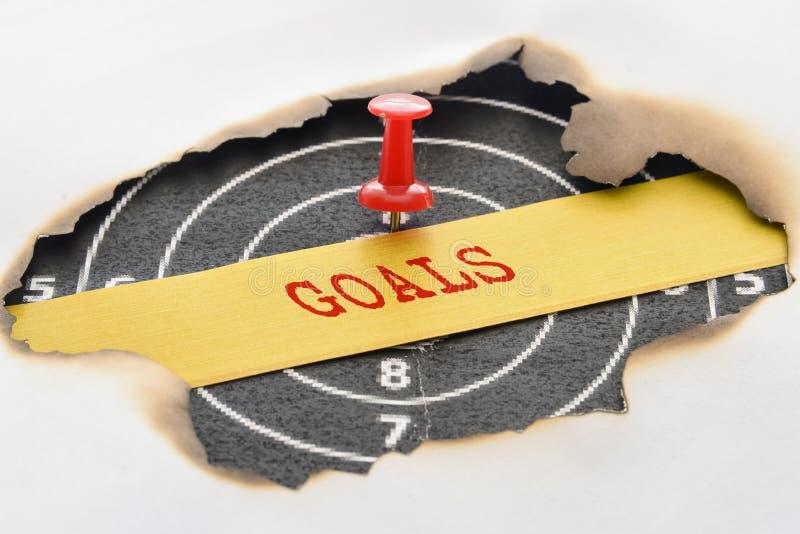 Στόχοι και στόχος λέξης στοκ εικόνες