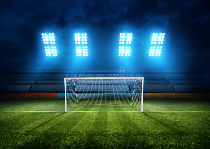 Στόχος γηπέδου ποδοσφαίρου στοκ εικόνες