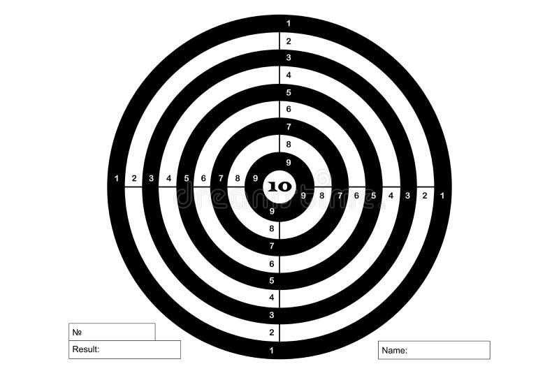 Στόχος για το πυροβολισμό, διάνυσμα, στα άσπρα και μαύρα χρώματα διανυσματική απεικόνιση