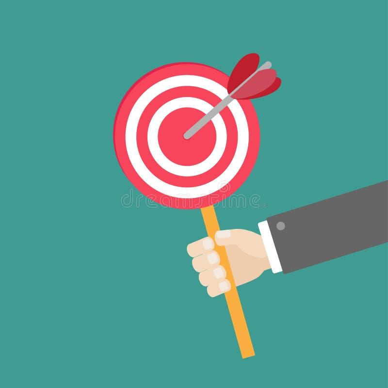 Στόχος εγγράφου εκμετάλλευσης χεριών επιχειρηματιών με το βέλος στο επίπεδο σχέδιο ραβδιών απεικόνιση αποθεμάτων