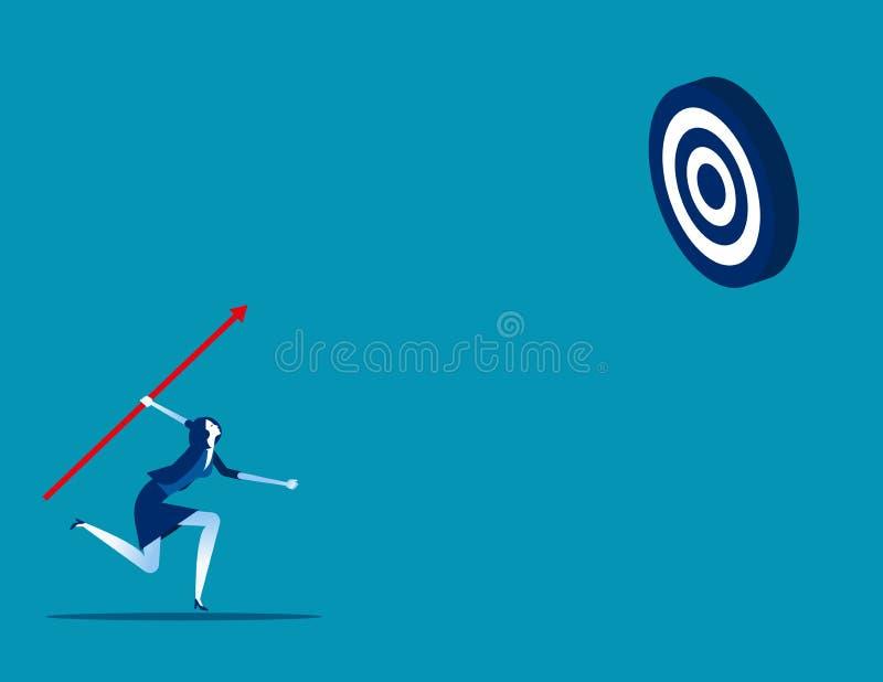 Στόχος επιχειρηματία σκοποβολής Σύλληψη επιχειρηματικού φορέα, επίτευγμα, επιτυχία διανυσματική απεικόνιση