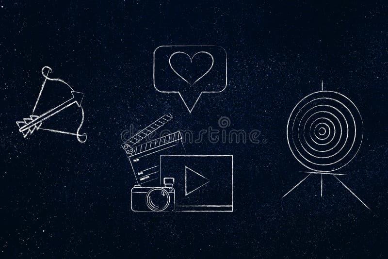 στόχος και βέλος με το ψηφιακό ικανοποιημένο εικονίδιο μέσα - μεταξύ διανυσματική απεικόνιση