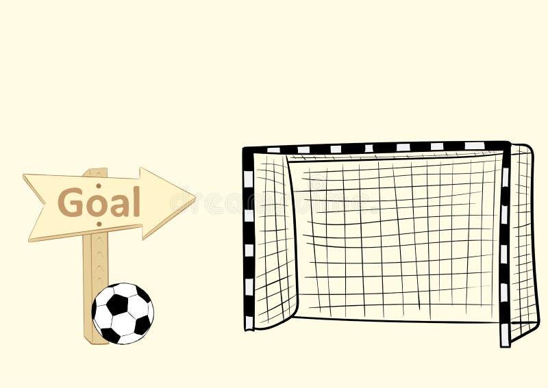 Στόχος και σημάδι ποδοσφαίρου διανυσματική απεικόνιση