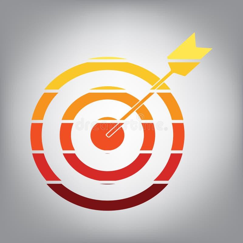 Στόχος με το βέλος διάνυσμα Οριζόντια τεμαχισμένο εικονίδιο με τα χρώματα φ απεικόνιση αποθεμάτων