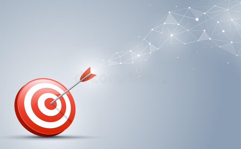 Στόχος που χτυπά στο κέντρο από το βέλος Κατεύθυνση και σύνδεση στόχου στην επιχειρησιακή έννοια ελεύθερη απεικόνιση δικαιώματος