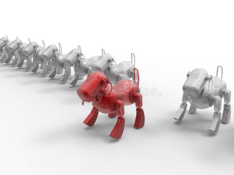 Στόχος σκυλιών ρομπότ στο πλήθος διανυσματική απεικόνιση