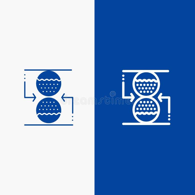Συγκέντρωση, έλεγχος, αποτελεσματική, γραμμή ρολογιών άμμου και στερεά γραμμή εμβλημάτων εικονιδίων Glyph μπλε και στερεό μπλε έμ ελεύθερη απεικόνιση δικαιώματος