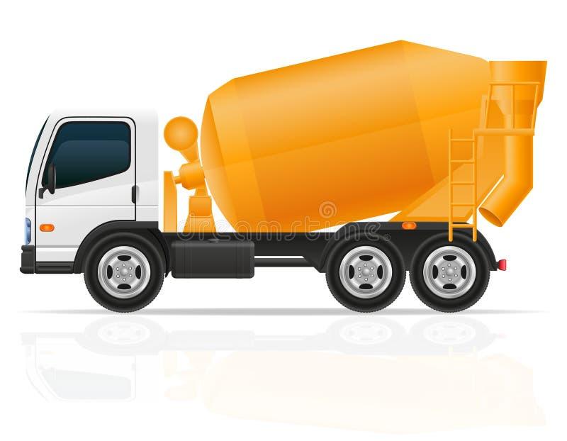 Συγκεκριμένος αναμίκτης φορτηγών για τη διανυσματική απεικόνιση κατασκευής ελεύθερη απεικόνιση δικαιώματος