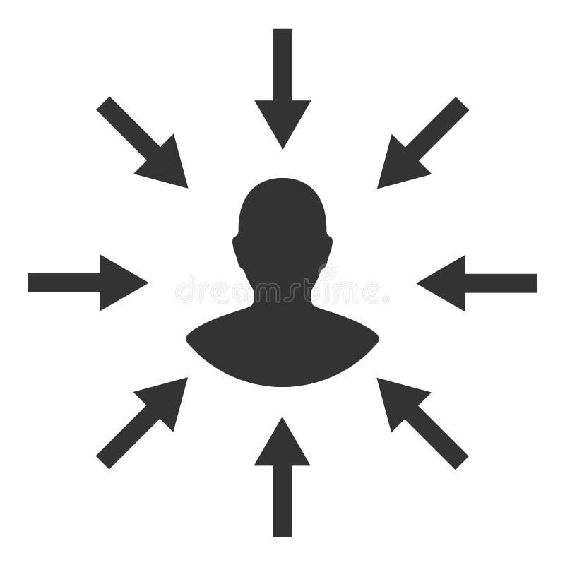 Συγκεκριμένος φορέας Πελάτης, στοχοθέτηση πελατών Καταναλωτικό centricity Ανθρώπινο σημάδι εστίασης ελεύθερη απεικόνιση δικαιώματος
