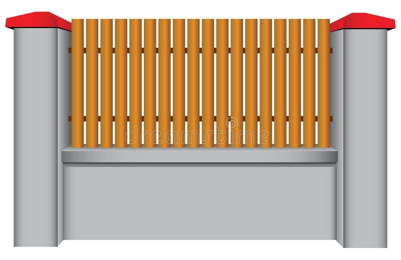 Συγκεκριμένος φράκτης με το ξύλινο ένθετο διανυσματική απεικόνιση