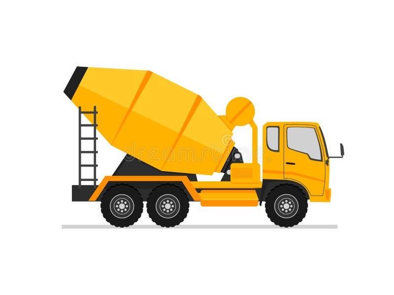 Συγκεκριμένο εικονίδιο φορτηγών Πλάγια όψη φορτηγών τσιμέντου αναμικτών στο επίπεδο σχέδιο ύφους μηχανή εξοπλισμού βιομηχανίας Μη διανυσματική απεικόνιση