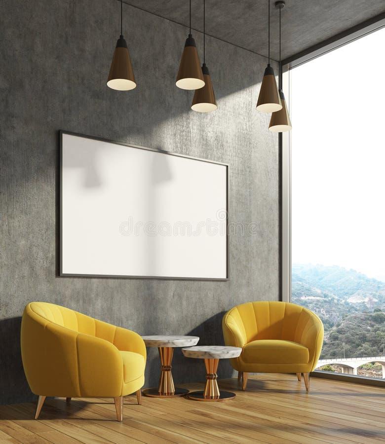 Συγκεκριμένο καθιστικό, κίτρινες πολυθρόνες, αφίσα απεικόνιση αποθεμάτων