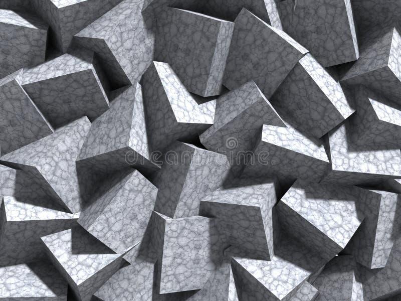 Συγκεκριμένο κύβων υπόβαθρο αρχιτεκτονικής τοίχων χαοτικό απεικόνιση αποθεμάτων