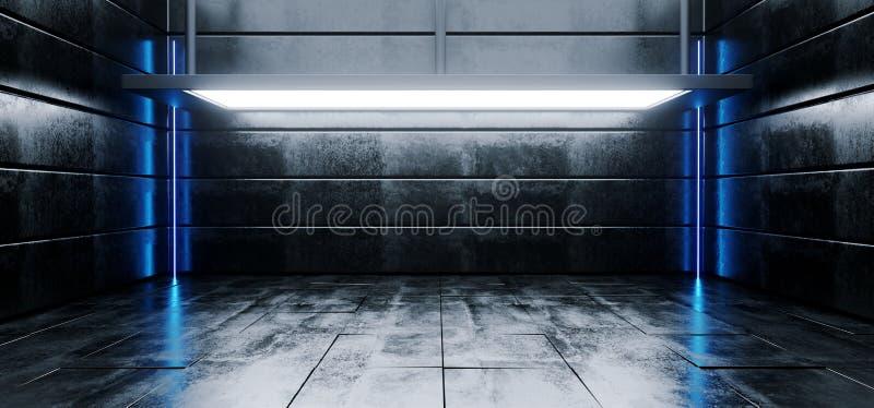 Συγκεκριμένο ρεαλιστικό δωμάτιο Grunge αντίθεσης του Sci Fi σύγχρονο δονούμενο κενό υψηλό με το μεγάλες στάδιο αιθουσών εκθέσεως  ελεύθερη απεικόνιση δικαιώματος