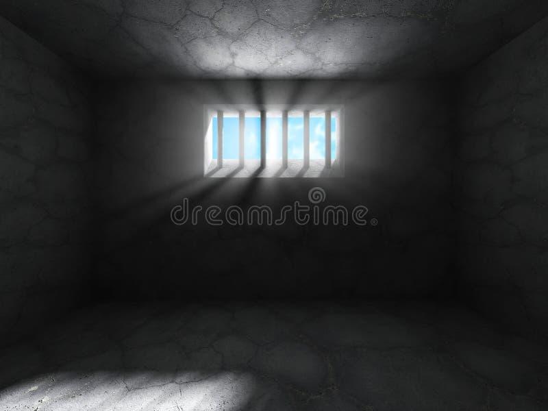 Συγκεκριμένο σκοτεινό δωμάτιο κελί φυλακής Ανασκόπηση Grunge απεικόνιση αποθεμάτων