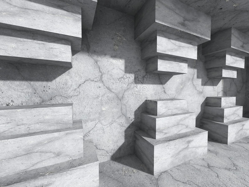 Συγκεκριμένο υπόβαθρο αρχιτεκτονικής Γεωμετρικός τοίχος κάτω από το φως ήλιων απεικόνιση αποθεμάτων