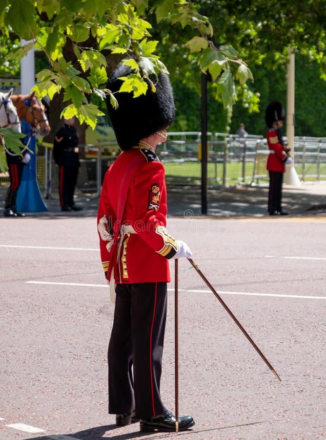 Συγκεντρωμένος την παρέλαση χρώματος στις φρουρές αλόγων, Λονδίνο UK, με το στρατιώτη εικονικούς κόκκινους και μαύρους σε ομοιόμο στοκ εικόνες