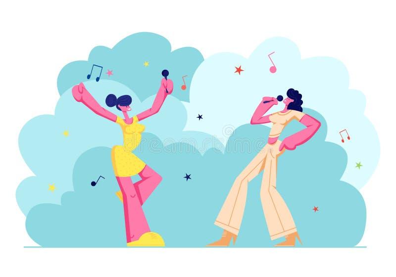Συγκινημένη επιχείρηση νέων κοριτσιών με τα μικρόφωνα που αποδίδει στο κόμμα καραόκε Ευτυχείς θηλυκοί χαρακτήρες που τραγουδούν χ απεικόνιση αποθεμάτων