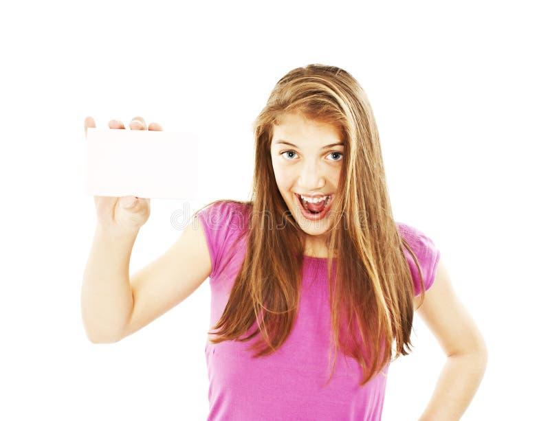 συγκινημένη κάρτα γυναίκα δώρων στοκ εικόνα με δικαίωμα ελεύθερης χρήσης