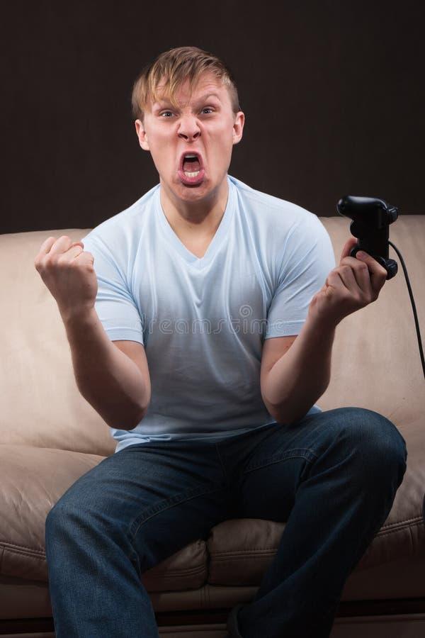 συγκινημένος gamer στοκ φωτογραφίες
