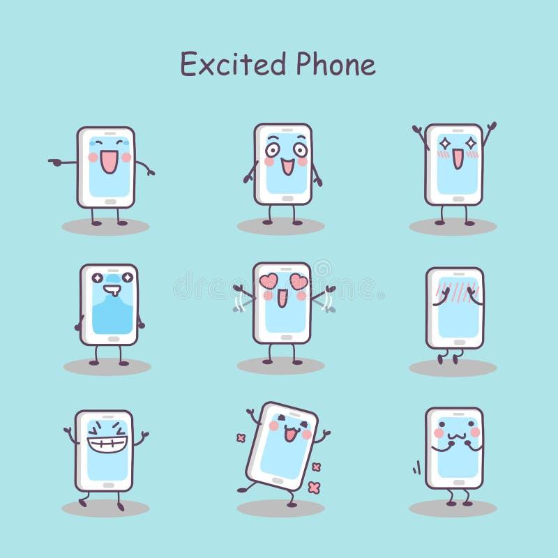 Συγκινημένο έξυπνο τηλέφωνο κινούμενων σχεδίων διανυσματική απεικόνιση