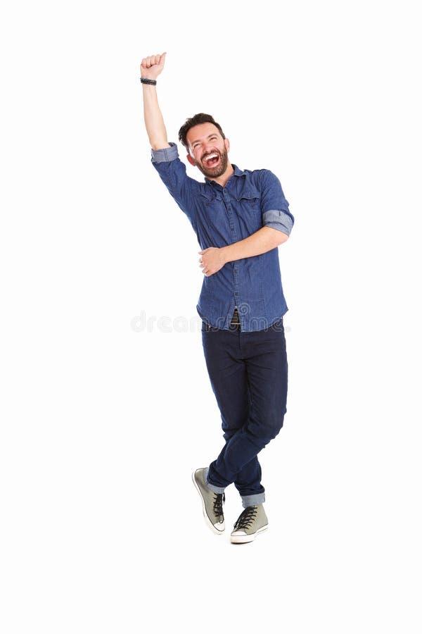 Συγκινημένο ώριμο άτομο ενθαρρυντικό πέρα από το άσπρο υπόβαθρο στοκ εικόνα με δικαίωμα ελεύθερης χρήσης