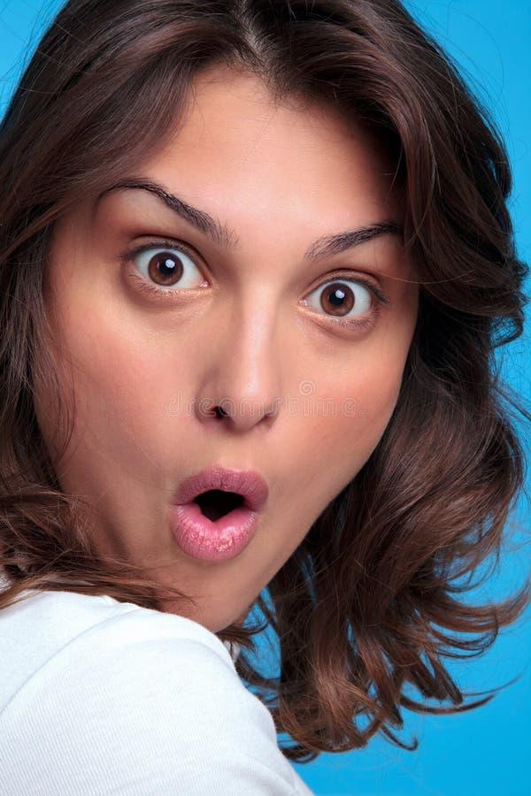 συγκλονισμένη έκφραση γυναίκα στοκ εικόνα
