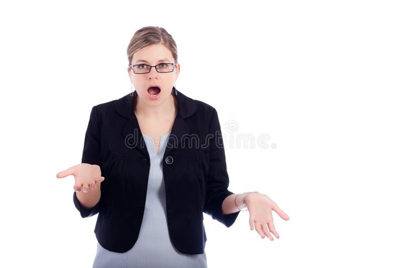 Download συγκλονισμένη επιχείρηση γυναίκα Στοκ Εικόνα - εικόνα από ανοικτός, χέρια: 22789865