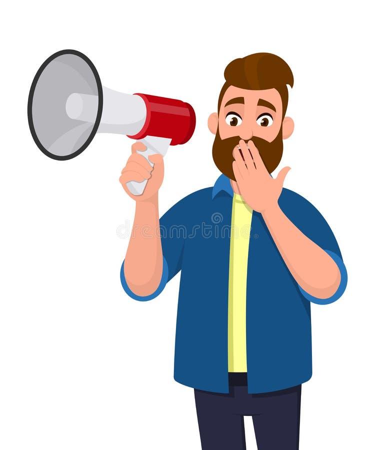 Συγκλονισμένος νεαρός άνδρας που κρατά megaphone ή ένα μεγάφωνο και που καλύπτει ή που κλείνει το στόμα του με τα δάχτυλα χεριών  απεικόνιση αποθεμάτων