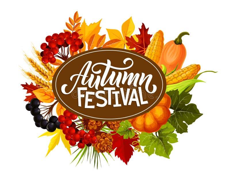 Συγκομιδή λαχανικών φεστιβάλ φθινοπώρου στο φύλλωμα ελεύθερη απεικόνιση δικαιώματος