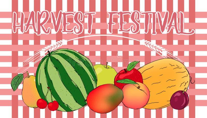 Συγκομιδών διανυσματικό έμβλημα φρούτων φεστιβάλ juicy διανυσματική απεικόνιση