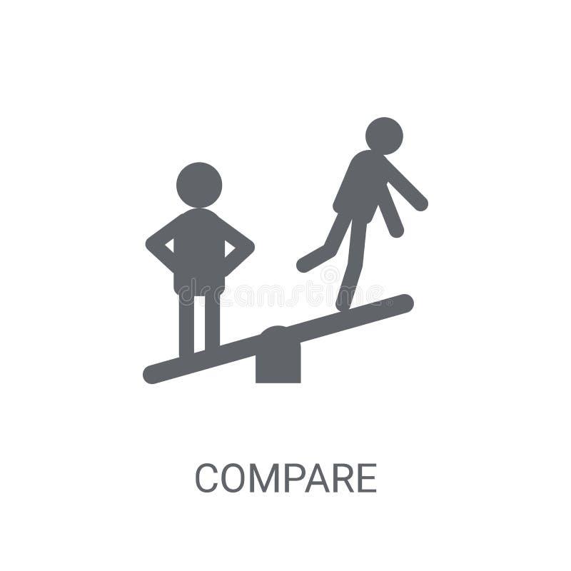 Συγκρίνετε το εικονίδιο Καθιερώνων τη μόδα συγκρίνετε την έννοια λογότυπων στο άσπρο υπόβαθρο FR απεικόνιση αποθεμάτων