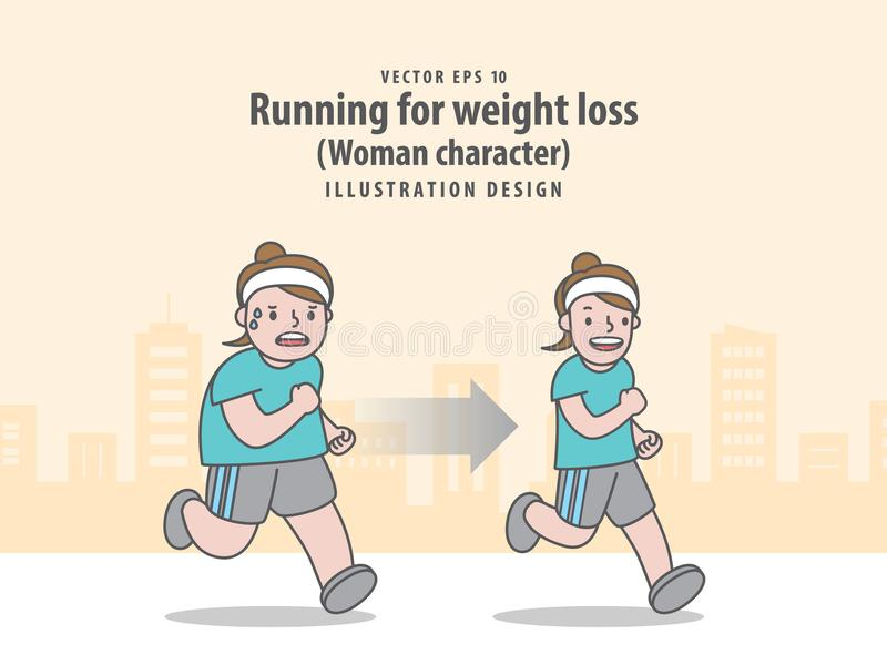 Συγκρίνετε το χαρακτήρα γυναικών που τρέχει για την απώλεια βάρους στο backgrou πόλεων διανυσματική απεικόνιση