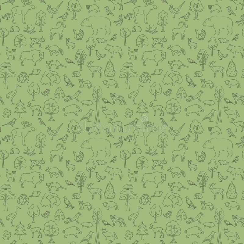 Συγκρατημένο δασικό και μικτό δασικό biome πλατύφυλλων άνευ ραφής σχέδιο Επίγειος παγκόσμιος χάρτης οικοσυστήματος Απλό γραφικό σ ελεύθερη απεικόνιση δικαιώματος