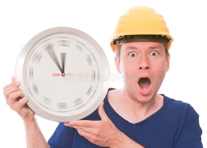 Συγκλονίζοντας χρόνος οικοδόμησης (έκδοση χεριών ρολογιών περιστροφής) στοκ εικόνες
