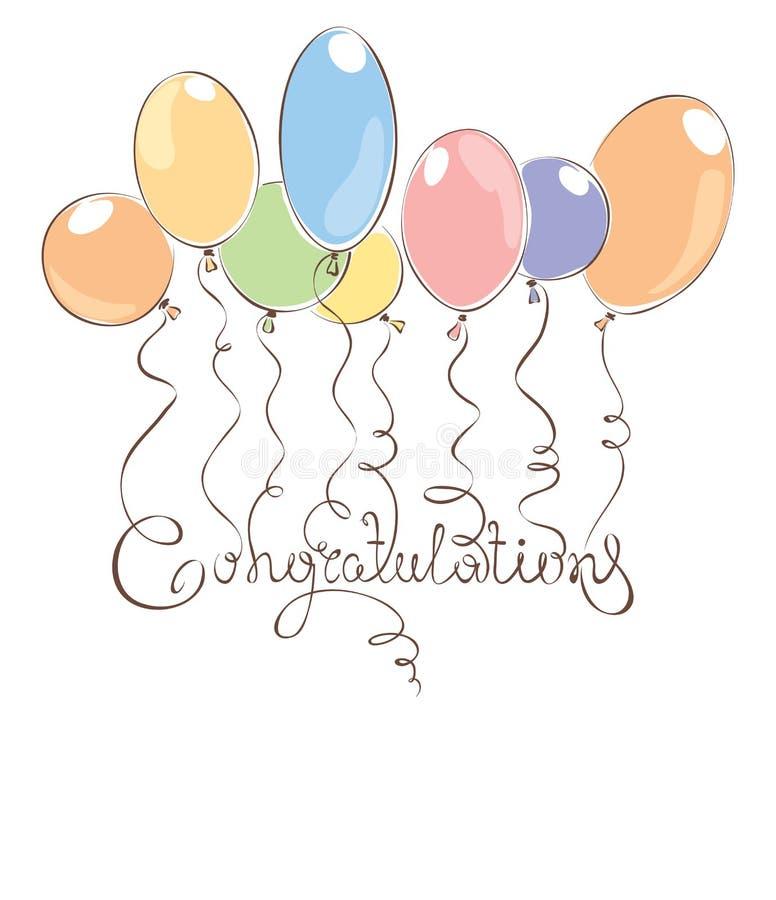 Συγχαρητήρια με τα μπαλόνια διανυσματική απεικόνιση