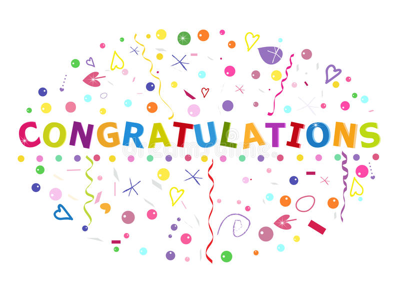 Συγχαρητήρια που γράφουν το κείμενο Ζωηρόχρωμα κομφετί και μπαλόνι ελεύθερη απεικόνιση δικαιώματος