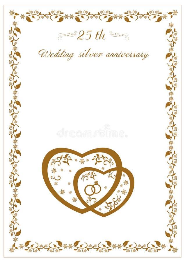 Συγχαρητήρια στο 25ο γάμο επετείου διανυσματική απεικόνιση