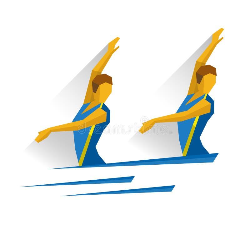 Συγχρονισμένη κολύμβηση Κολυμβητής δύο κοριτσιών στο νερό ελεύθερη απεικόνιση δικαιώματος