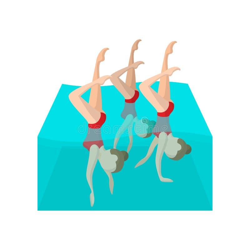 Συγχρονισμένο εικονίδιο κινούμενων σχεδίων κολυμβητών ελεύθερη απεικόνιση δικαιώματος