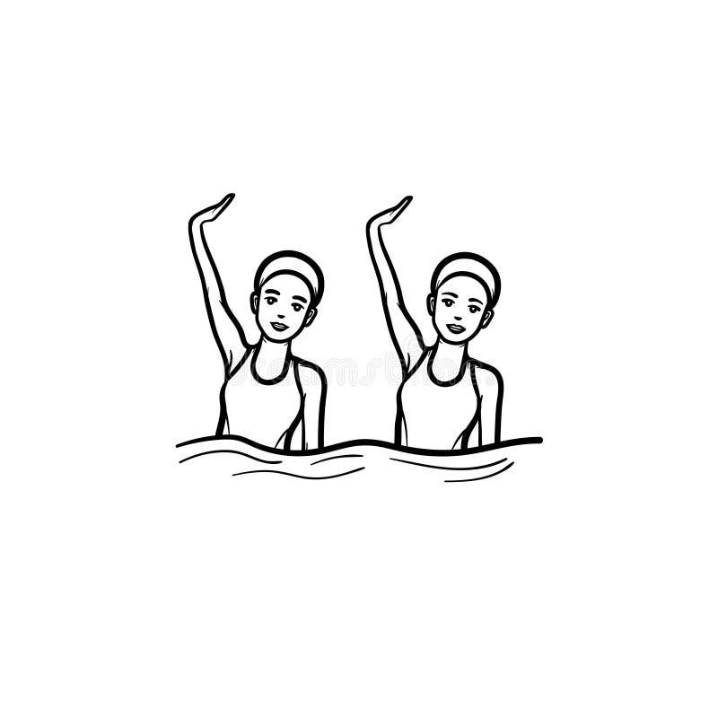 Συγχρονισμένο κολυμπώντας συρμένο χέρι εικονίδιο περιλήψεων doodle απεικόνιση αποθεμάτων