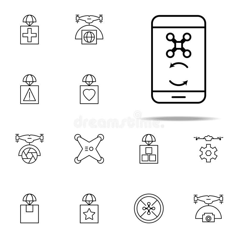 συγχρονισμός του κηφήνα με το τηλεφωνικό εικονίδιο Καθολικό εικονιδίων κηφήνων που τίθεται για τον Ιστό και κινητό διανυσματική απεικόνιση