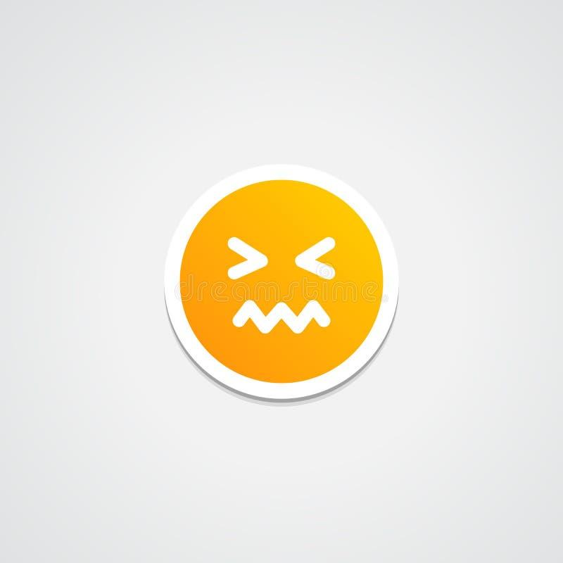 Συγχυσμένη Emoji αυτοκόλλητη ετικέττα απεικόνιση αποθεμάτων